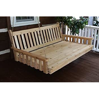 outdoor 6 traditional english swing bed oversized porch swing unfinished pine amish - Porch Swing Bed