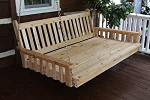 Outdoor 5' Traditional English Swing Bed - Oversized Porch Swing - STAINED- Amish Made USA -Oak