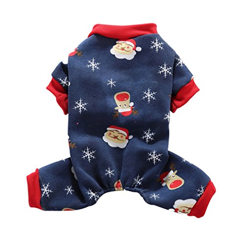 (starlit Christmas Santa Snowflake Thermal Dog Pajamas Pet Clothes Coat Jumpsuit)