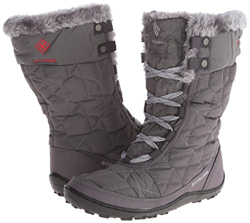Columbia Women's Minx Mid II Omni-Heat Winter Boot, Shale/Bright Red, 7.5 M US