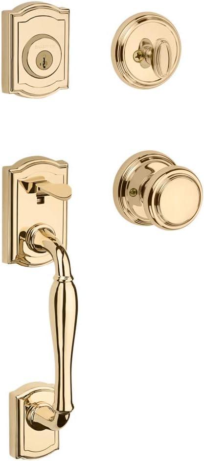 Baldwin Prestige Wesley Single Cylinder Handleset with Alcott Knob featuring SmartKey in Lifetime Polished Brass