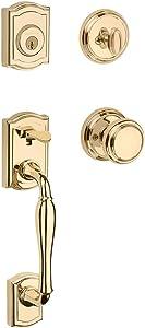 Baldwin Wesley Single Cylinder Front Door Handleset Featuring SmartKey Security in Polished Brass, Prestige Series with Traditional Door Hardware and Alcott Knob