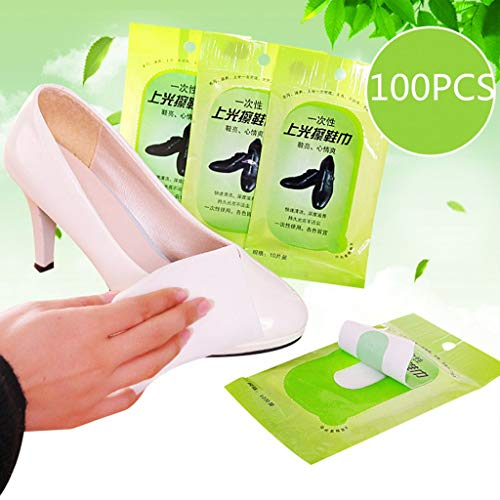 Maikouhai 10/20/50/100 x Wet Wipes,Cleaning Polishing Shoe Cleaning Towel Leather Care Disposable Wet Wipes to Clean Your Clothes Conveniently(100)
