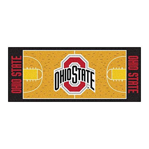 Fanmats NCAA Ohio State University Buckeyes Nylon Face Basketball Court Runner (Area Basketball State University Rug)