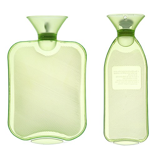 Pvc Water Bottles (HomeIdeas 2 Pack 2L+1L Thermoplastic Transparent Home & Outdoor Hot Water Bottle, Cold/Hot Therapy For Body (Green))
