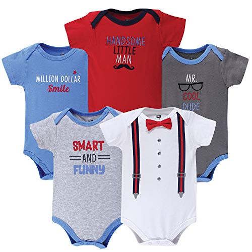 Hudson Baby Unisex Baby Cotton Bodysuits, Cool Dude 5 Pack, 9-12 Months - Boys Bodysuits Pack 5