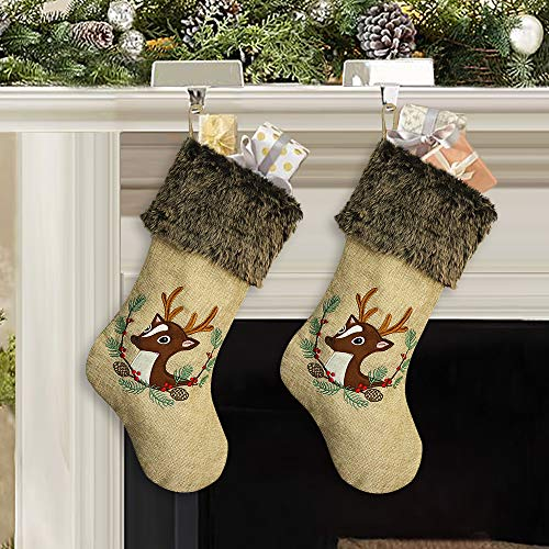- Ivenf Christmas Stockings, 2 Pack 18 Inch Large Embroidered Reindeer Burlap Stockings with Plush Faux Fur Cuff, for Family Holiday Xmas Party Decorations