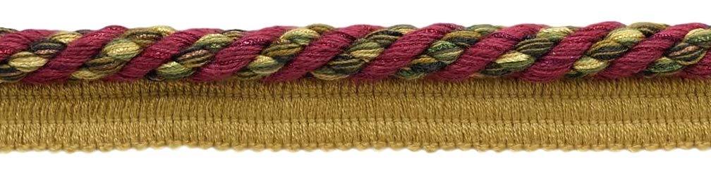 Package of 24 Yards Elaborate 3/8 inch Burgundy Wine, Olive Green, Yellow Gold, Black Veranda Collection Trim Cord With Sewing Lip Style# 0038V Color: Evergreen Berries - VNT19 (72 Feet / 21.9 Meters) by DÉCOPRO