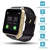 Wingtech Bluetooth Wireless GT88 Smart Watch Pedometer Activity Tracker Heart Rate Monitor Watch with Camera Sim Card Slot for iOS/Android Smartphones (Gold)