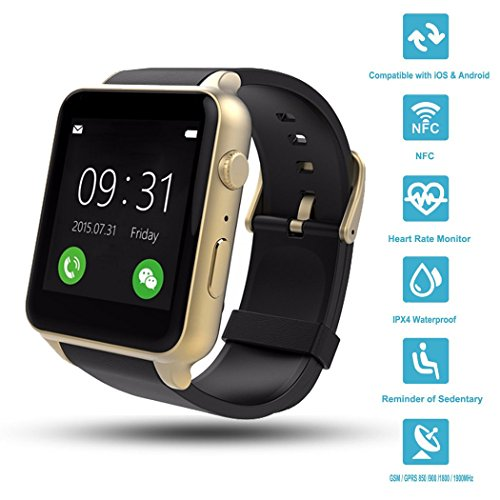 Wingtech GT88 Bluetooth Smart Watch Touch Screen IP57 Rainproof Smart Wrist Watch with Camera Sim Card Slot Sport Heart Rate Monitor Compatible with iOS Android Smartphones (Gold)