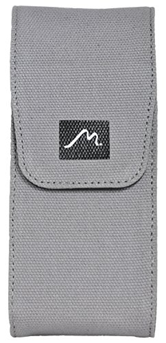 Triple Pen Case and Note Jotter by Metier Life | Magnetic Closure and Ink Refill Holder | Elegant Canvas and Vegan Leather for Fountain Pens and Writing Utensils (Grey)