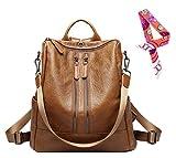 Womens Lightweight Designer Backpack Shoulder Handbags - Pu Leather Convertible Rucksack Brown/02