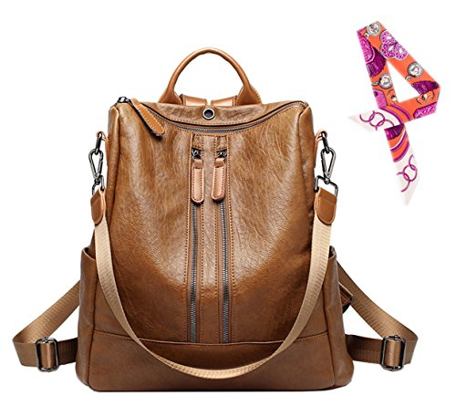 Womens Lightweight Designer Backpack Shoulder Handbags - Pu Leather Convertible Rucksack Brown/02 by SAIERLONG