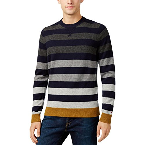 Tommy Hilfiger Nylon Sweater - Tommy Hilfiger Mens Wool Striped Pullover Sweater Navy XL