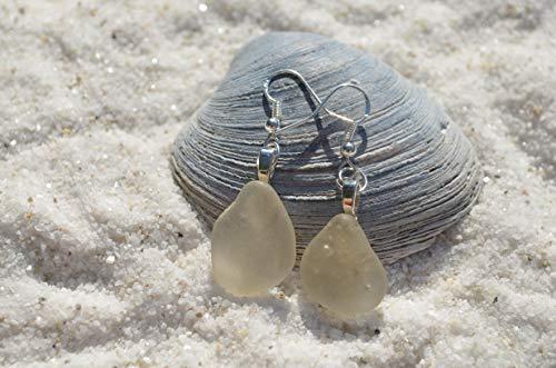 White Sea Glass Dangling Earrings