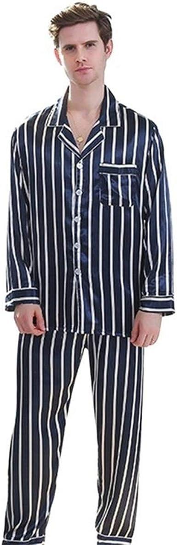 Pareja Pijama de satén de Seda Ropa de Dormir Pijamas Rayada ...