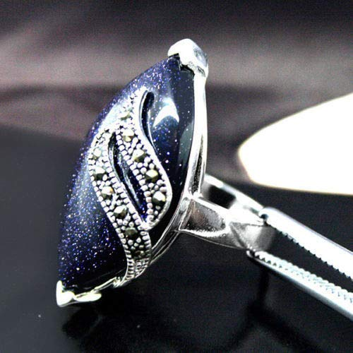 (Free New Blue Sand Stone 925 Silver Pick Size 7/8/9/10)