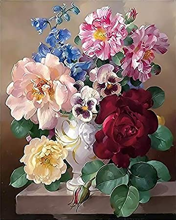 Pintura al óleo flor en florero pintura por números pintura flor diy lienzo cuadro pintado a mano decoración del hogar