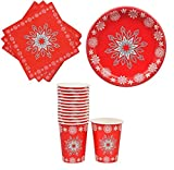 Christmas Paper Plates, Napkins and Cups With Snowflake Design