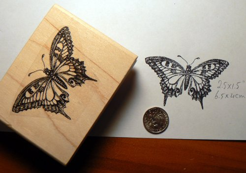 Butterfly rubber stamp WM P15 (Dragonfly Stamp Rubber Wood Mounted)