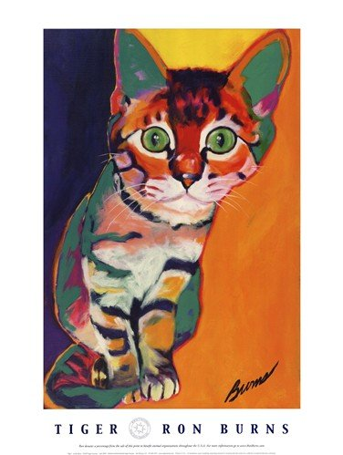 (18x24) Ron Burns Tiger Art Print Poster ()