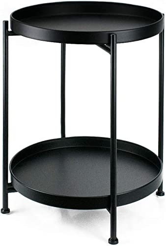 Metal End Table 2-Tier Small Side Table Round Coffee Table for Sofa Living Room Tea Table Black