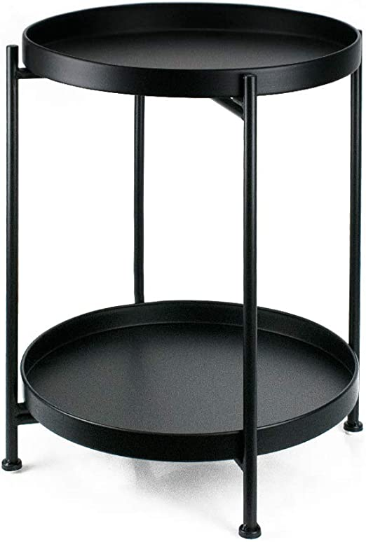 Amazon Com Metal End Table 2 Tier Small Side Table Round Coffee