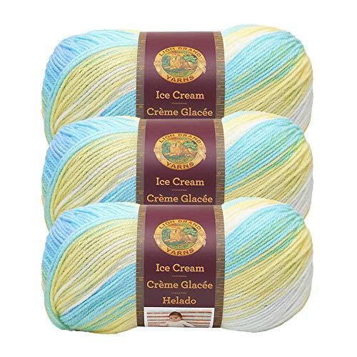 (3 Pack) Lion Brand Yarn 923-202AW Ice Cream Yarn, Lemon ()