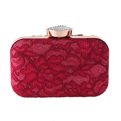 Handbag Party Handbag Clutch Purse Color Bag Bag Evening Red White Lace Fashion Fashion KERVINFENDRIYUN avpqIwx0