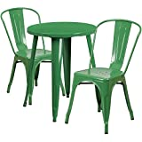Flash Furniture 24'' Round Green Metal Indoor-Outdoor Table Set with 2 Cafe Chairs