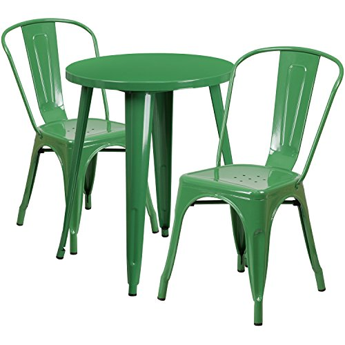 - Flash Furniture 24'' Round Green Metal Indoor-Outdoor Table Set with 2 Cafe Chairs