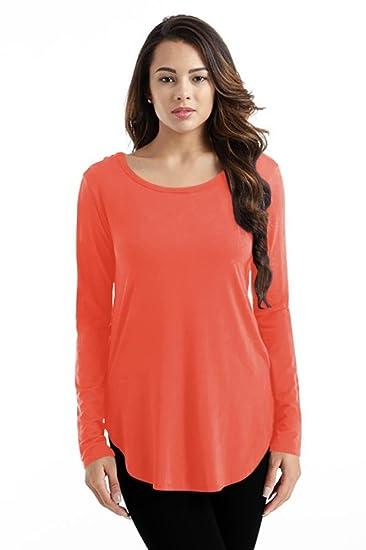 84f8a732151 Simlu Coral Tee Shirt Tunics for Women Crew Neck Long Sleeve Tunic Top  Modal T Shirt