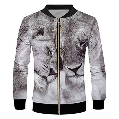 - Men's 3D Printed Plush Pattern Lovely Zip Jacket Two Tigers Unisex Man Zipper Coat Two Tigers 5XL