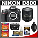 Nikon D800 Digital SLR Camera Body with 24-85mm f/3.5-4.5G VR ED AF-S Zoom Lens + (2) 32GB Cards + Case + Accessory Kit