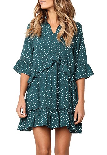 (MITILLY Women's V Neck Ruffle Polka Dot Pocket Loose Swing Casual Short T-Shirt Dress Medium Green )