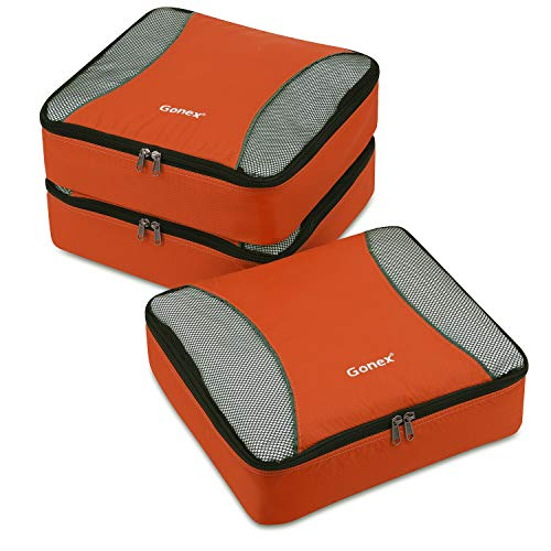 - Gonex Packing Cubes 3 Set Travel Luggage Packing Organizers Pouches(Orange)