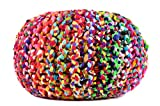 MystiqueDecors Large Multicolor Hand Knitted Pouf Ottoman Cotton Braided Round Floor Comfortable Seat Footstool 20''X16'' By