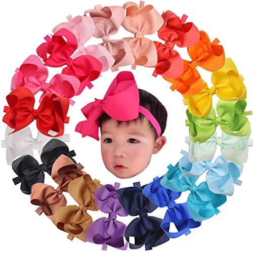 20 Pcs 6inches Bow Baby Girl Headbands Grosgrain Ribbon Big Hair Bows for Infant Newborn
