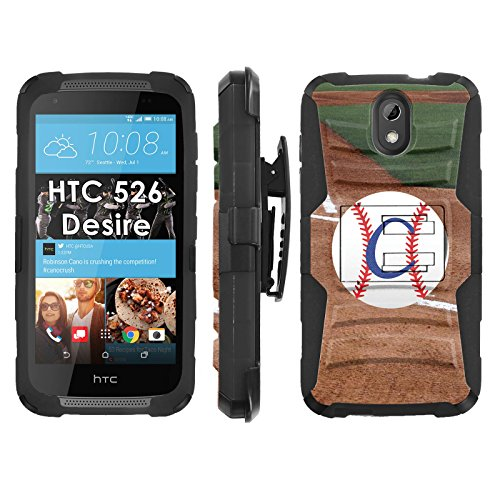 HTC Desire 526 Phone Cover, Baseball Monogram C- Blitz Hybrid Armor Phone Case for [HTC Desire 526] with [Kickstand and Holster] by Mobiflare (Htc Desire C Cover compare prices)