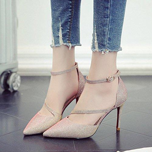 Con Zapatos Oro Tacón Hembra El GAOLIM Alto Fina Zapatos De Para Solo Una Mujeres Zapatos Punta Los Ranurado xqxw4FX