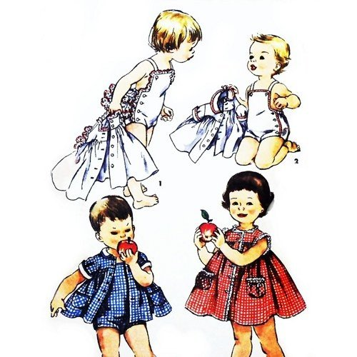 (Simplicity 1151 Vintage '50s Child's Sewing Pattern Toddler's Brother and Sister Fashion, Playsuit, One-piece Dress and Jacket Check Offers for Size)