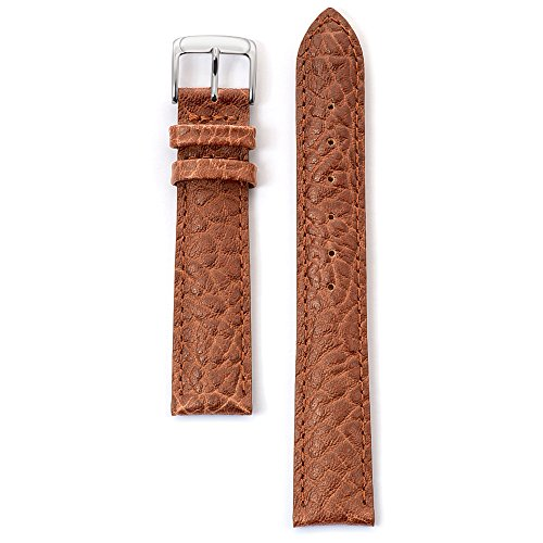 Speidel Genuine Leather Watch Band 19mm Honey Cowhide Buffalo Grain Replacement Strap, Stainless Steel Metal Buckle Clasp, Watchband Fits Most Watch ()