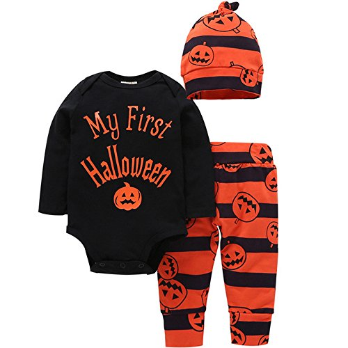 Baby First Halloween Outfit Newborn Halloween Costume Clothes Infant Baby Boy Girl Pumpkin Romper Pants Onesie Bodysuit with Cap (Party In My Pants Halloween Costume)