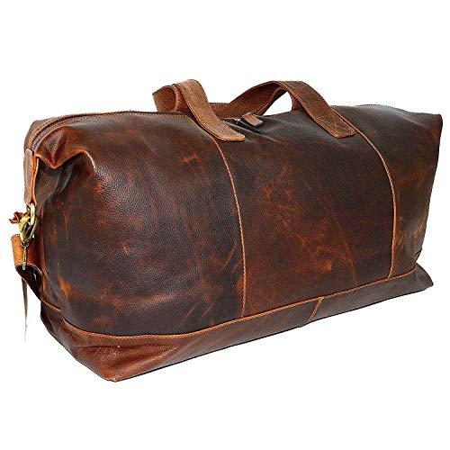 HARLEE & SCOTT Leder Reisetasche Weekender Sporttasche Ledertasche Vintage Braun HS05