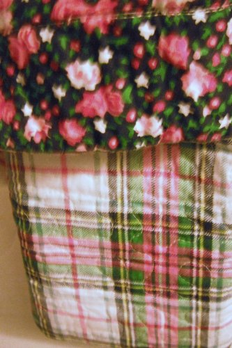 (Tommy Hilfiger Emory 2pc Cotton Quilt /Sham Set Twin- Green Pink Reversible Floral/plaid)