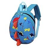 KONFA Baby Boys Girls Kids Dinosaur Pattern Animals Backpack Toddler School Bag (Blue)