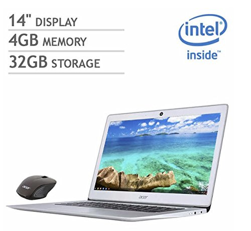 Acer 14 inch FHD IPS Display Chromebook Bundle (2018 Newest), Intel Quad Celeron N3160 processor 1.6GHz, 4GB RAM, 32GB SSD, WiFi, Bluetooth, webcam, HDMI, Chrome OS, Wireless mouse included (Quad Bluetooth)
