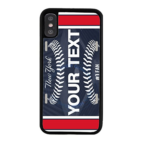BleuReign(TM) Personalized Custom Name Baseball New York Blue License Plate TPU RUBBER SILICONE Phone Case Back Cover For Apple iPhone X (Blue Back Case)