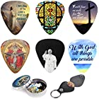 Catholic Christian Guitar Picks - 12 Medium Celluloid Plectrum W/Pick Holder & Tin Box. Inspired & Meaningful Bible Messages - Unique Gift for Men and Women Guitarists - Best Stocking Stuffer