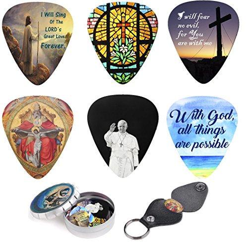 Christian Guitar Picks - 12 Medium Celluloid Plectrum W/ Pick Holder & Tin Box. Inspired & Meaningful Bible Messages - Unique Gift for Men and Women Guitarists - Best Stocking Stuffers